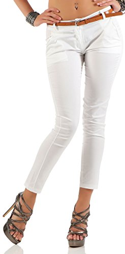 Malito Damen Chinohose mit Gürtel | Stretch Caprihose | schicke Freizeithose | Skinny - Slimfit - elegant 5388 (weiß, S)