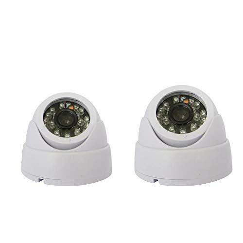 balikha Cámara de Seguridad Domo 1200TVL de 2 Piezas, Visión Nocturna Diurna 24 IR LED para Interiores