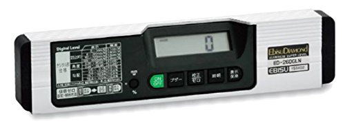 エビス(EBISU) 水平器 デジタルレベル ED-26DGLN デジタル型角度測定用 シルバー 奥行2.6×高さ6.05×幅26cm