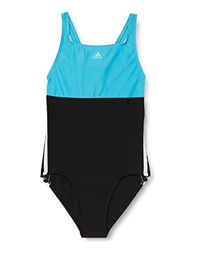 adidas Girls YG CB 3S Suit Swimsuit, Black/Signal Cyan/White, 910Y