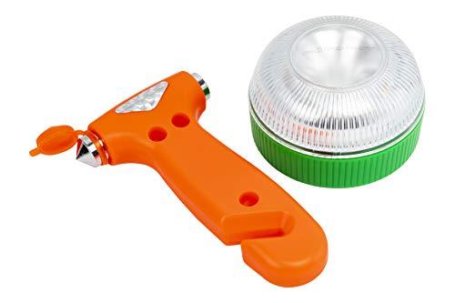 Motorkit MOTOR16524 Luz LED magnética homologada (V16) + Martillo de Emergencia, rompe Cristal, Corta cinturón. Recomendado por la DGT