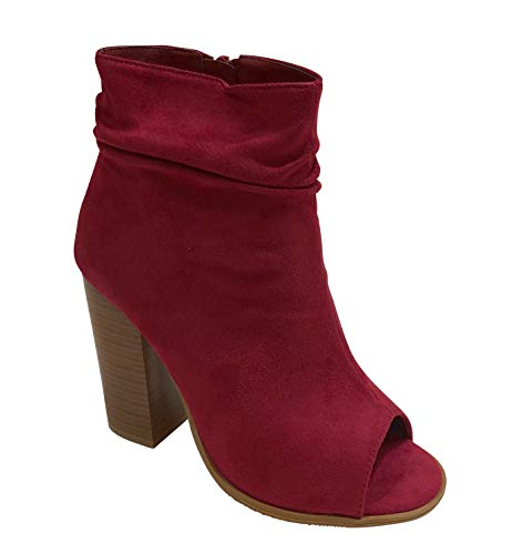 Bella Marie Women's Sarah-28 Peep Toe Slouch Chunky Stacked Block Heel Ankle Bootie (7.5, Burgundy)