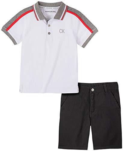 Calvin Klein Baby Boys' 2 Pieces Polo Shorts Set, White/Black, 18M