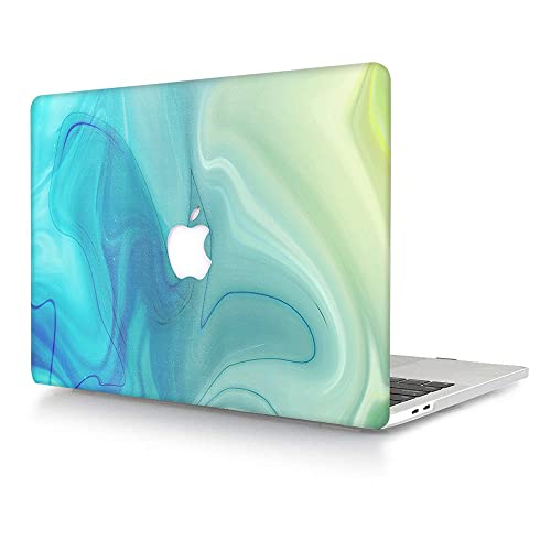 ACJYX Compatible with MacBook Pro 13 inch Case 2016-2020 Release A2338 M1 A2251 A2289 A2159 A1989 A1706 A1708, Matte Plastic Hard Protective Case Shell Cover - Green & Blue