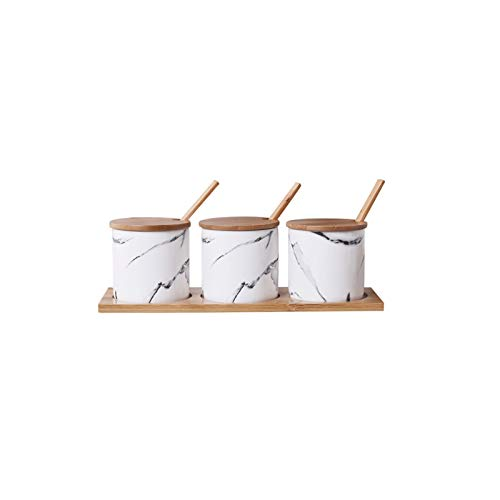 KJLY COCINA CERÁMICA Con condIMENT JARS CONDUCARIO, TARJETOS DE SPICE, DISPENSADORES DE VENSOR Y APRECIOS, Latas de sal, 28.5 * 9.5 * 6.2cm