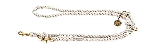 HUNTER LIST Verstellbare Führleine, Seil, Messing-Karabiner, maritim, 0, 8 x 200 cm, creme