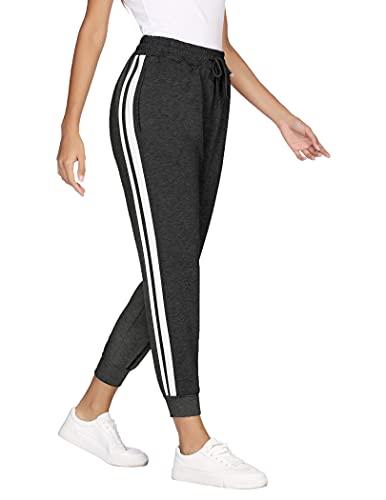 COOrun Jogginghose Damen Jogger Trainingshose Sportwear Streetwear lang Sweathose Sweatpants mit Bündchen und 2 Streifen dunkelgrau L