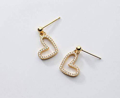 WOZUIMEI S925 Pendientes de Amor de Plata para Mujer, Pendientes Cortos con Forma de Corazón Huecos de Diamantes Coreanos, Joyería Dulce de Temperamentooro