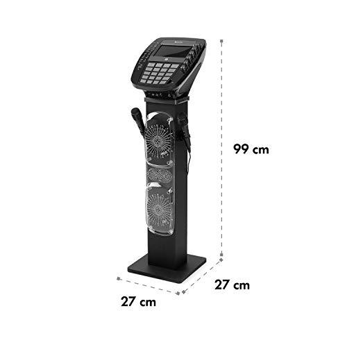 auna KaraBig - Karaoke Anlage, Karaoke Player, Karaoke Set, Turmlautsprecher, Bluetooth, 2 x Mikrofon, CD+G-Player, USB-Port, Aufnahmefunktion, LED-Effekte, Tablethalterung grau