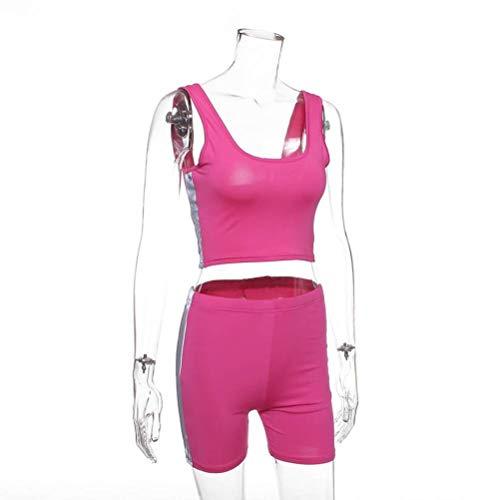 Justtime vest hoge taille dunne shorts straat reflecterende strepen pak vrouwen Small roze