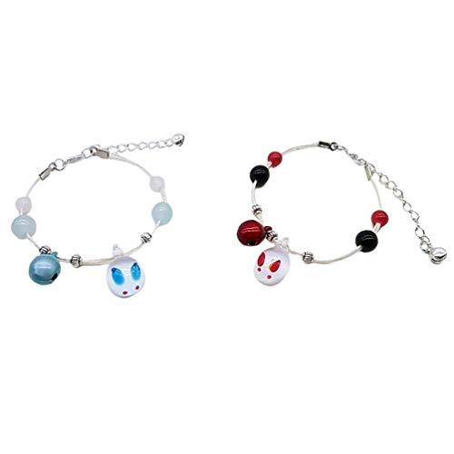 AMOSFUN Preciosa pulsera para parejas de moda, bonita pulsera para San Valentín, regalo de boda (rojo y azul), 2 unidades