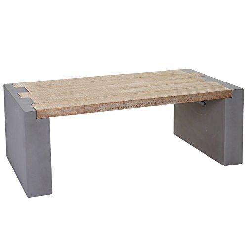 Table Basse de Salon HWC-A15, Design Béton Sapin Massif Rustique 46x122x60cm