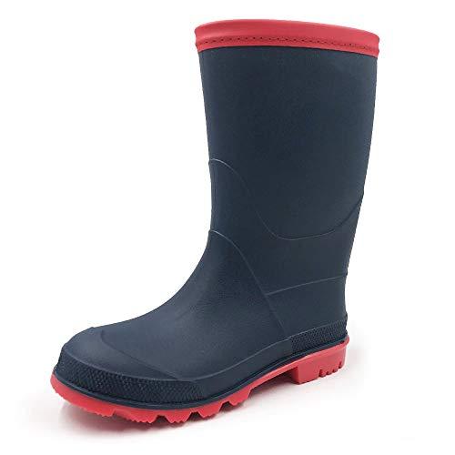 AMOJI Regenstiefel Regen Stiefel Schuhe Jungen Kinder Babys Kleinkinder Mädchen Schonen Leicht Wasserdicht Marine 22 cm Größe 35 EU