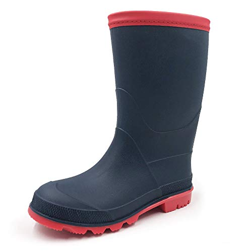 Amoji boy Girl rain Boots Easy on Rubber Garden Shoes Wellies Kids Children Outdoor Waterproof Boots(Toddler/Little Kid/Big Kid) Navy 3-4 Big Kid