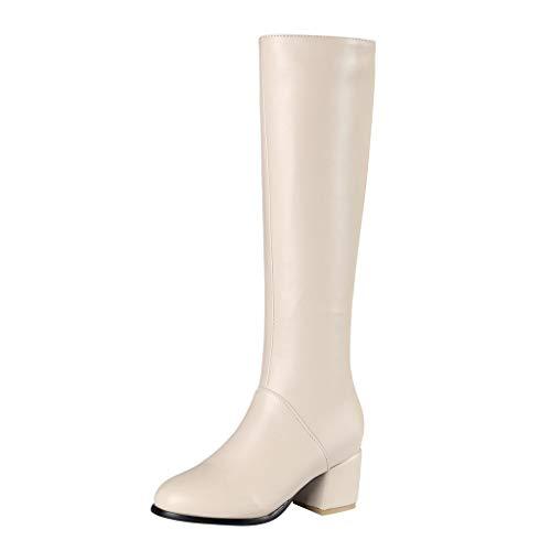 Stiefel Damen Winter Warm Wasserdicht Mittelhoher Booties Frauen Winter Warme Stiefel Seite Reißverschluss Runde Zehen Quadrat High Heels Kniehoch (38,Beige)