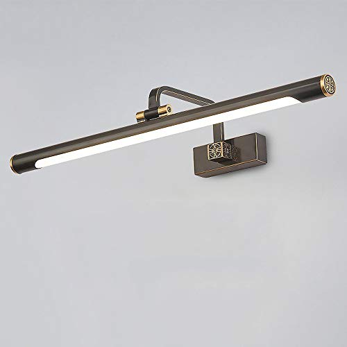 Wandlamp voor badkamerkast, 14 W, LED Mirror Light met schakelaar, spiegel voor make-up, spiegel voor, lamp, koper, acryl, hoek verstelbaar (koud wit) (grootte: groot - breedte: 64 cm)