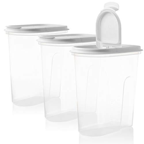 Vorratsbehälter Set mit Klappdeckeln, 3-teilig, 2 Liter, 100% recyclebar, ideale Größe z.B. für Cornflakes oder Vorratsdose, Weisse Deckel, Made in EU, Weiß