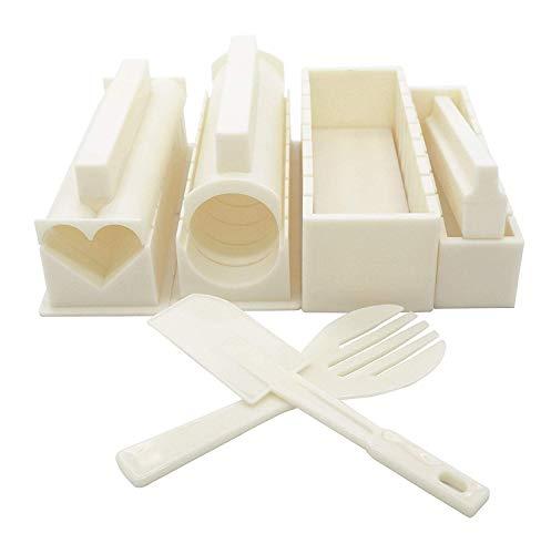 BigBigShop Sushi-Herstellungs-Set, japanische Reisrollen, Sushi-Maker Werkzeuge mit einzigartigen Formen (weiß)