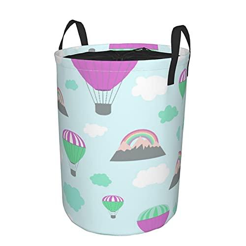Cesta de almacenamiento, patrón sin costuras de Baby Shower con globos de aire y lindas nubes, cesto de lavandería grande plegable con asas 21.6'x16.5'