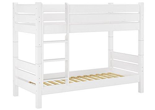 Erst-Holz® Etagenbett für Erwachsene 80x200 weiß, Nische 80 cm teilbar, mit 2 Rollroste 60.16-08 W T80