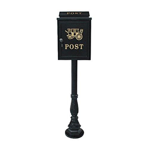JXXDDQ Große Retro vertikale Briefkasten europäischen Postbox Villa im freien regendicht Mailbox Diebstahlschutz-Briefkasten (Farbe : SCHWARZ)