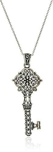 Sterling Silver Oxidized Filigree Key Pendant Necklace, 18'