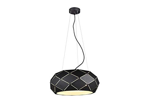 Geometrische led-hanglamp met lasergesneden metalen kap zwart mat 50 cm
