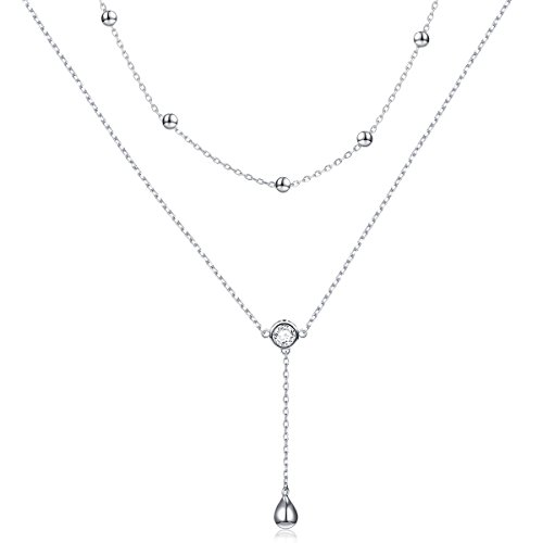 DAOCHONG Layered Necklace S925 Sterling Silver Teardrop Double Chain Choker Y Lariat Necklace for Women