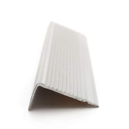 Labelnorme - nez de marche aluminium L strié - cornière pour escalier - nez de marche extérieur intérieur- profil dangle à monter visser/adhésiver/coller