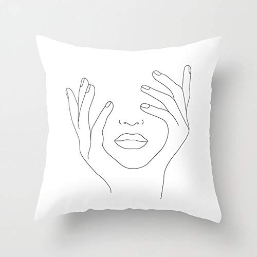 PPMP Funda de cojín de línea mínima Abstracta boceto Funda de Almohada Decorativa de sofá para el hogar Funda de cojín Funda de Almohada para arrojar A14 45x45cm 1pc