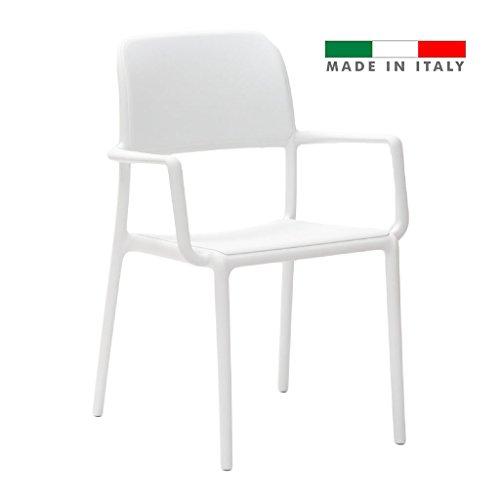 LA SEGGIOLA Kit 4PZ. Chaise River B Art. 055 Blanc Design d'extérieur avec accoudoirs