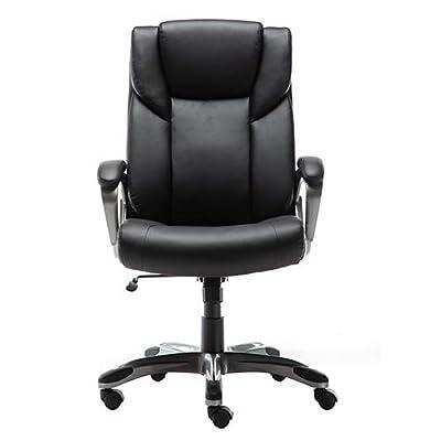 AmazonBasics High-Back Bonded Leather Executive Office Computer Desk Chair - Black