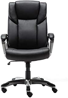 AmazonBasics High-Back Bonded Leather Executive Office Computer Desk Chair - Black