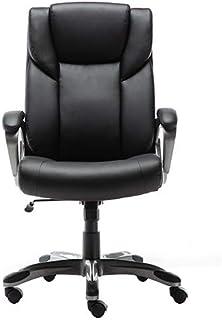 Amazon Basics High-Back Bonded Leather Executive Office Computer Desk Chair - Black