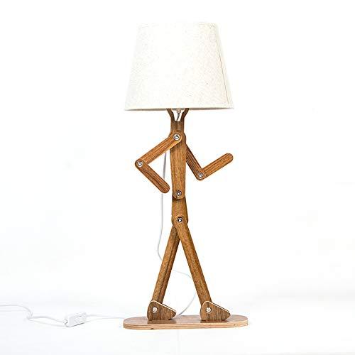 CLX Unieke man houten bureaulamp met lampenkap retro DIY flexibele swing arm bijzettafel licht voor kinderen jongens slaapkamer woonkamer