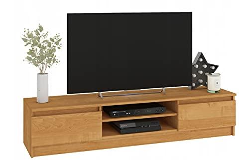 Mueble de TV salón, Dormitorio o habitación Juvenil, 2 Puertas y 2 estantes, diseño del Interior. Dimensiones: 160 x 33 x 40 (Aliso)