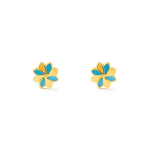 Monde Petit T1829P - Pendientes de bebe/niña oro 18 kts. flor esmaltada, color azul