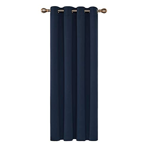 Deconovo Rideaux Occultants Isolant Thermique, 140x180 CM (Largeur x Hauteur), Rideaux pour Chambre Garçon, Design Moderne à Oeillets, Bleu Marine, 1Pièces