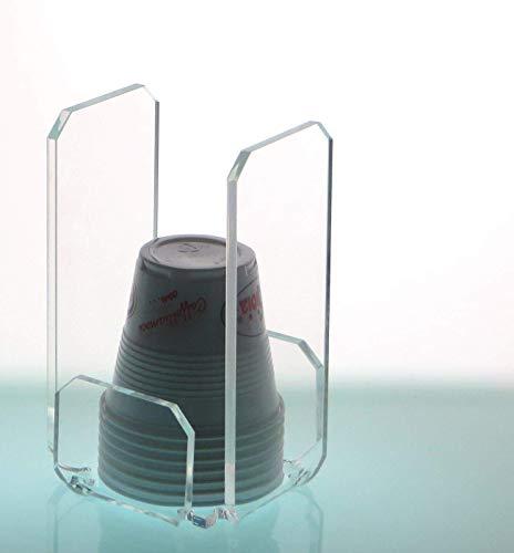Agplex - Porta bicchieri da caffè in plexiglass per bicchierini di plastica