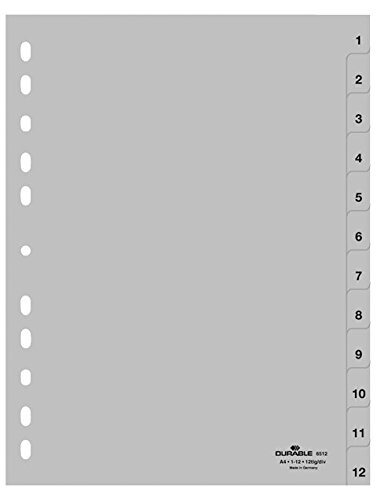 Durable 651210 Zahlenregister (A4, geprägte Taben 1-12, PP volldeckend) 25 Stück, grau