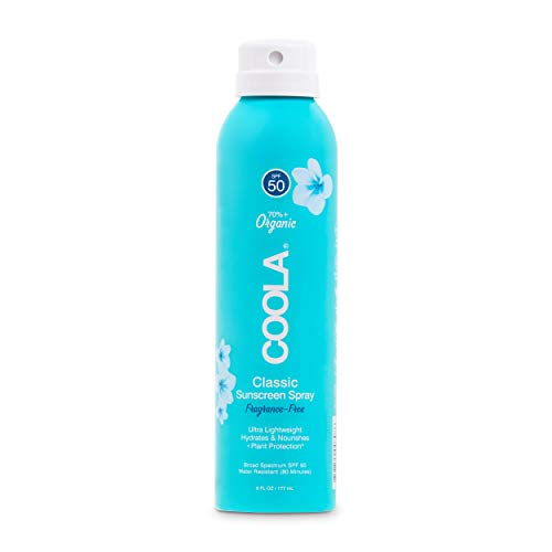 COOLA Organic Sunscreen & Sunblock Spray, Skin Care for Daily Protection, Broad Spectrum SPF 50, Reef Safe, Fragrance Free, 6 Fl Oz