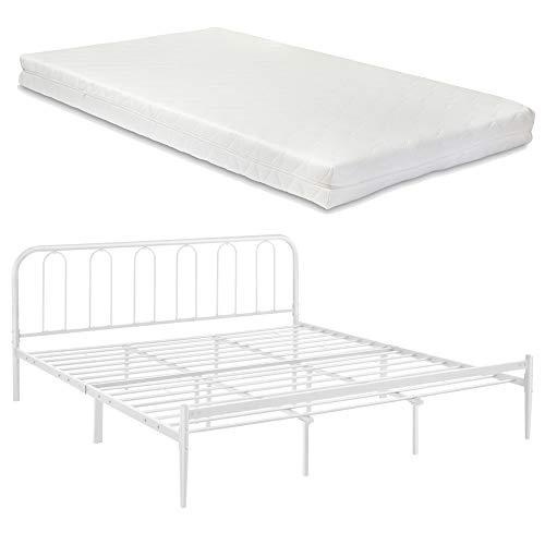 [en.casa] Metallbett 180 x 200cm mit Matratze Stahlrahmen Doppelbett mit Kaltschaummatratze Ehebett Weiß