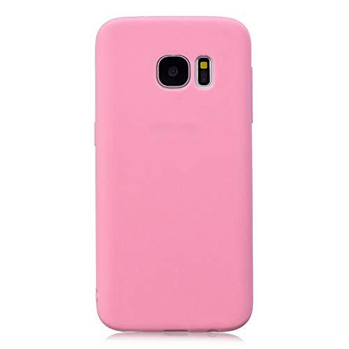 cuzz Funda para Samsung Galaxy S7 Edge+{Protector de Pantalla de Vidrio Templado} Carcasa Silicona Suave Gel Rasguño y Resistente Teléfono Móvil Cover-Rosa Oscuro