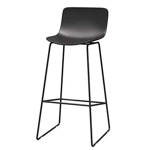 Kruk barkruk modern eenvoudige meubelbar rugleuning frame metaal hoge kruk bureaukruk zithoogte 65/70/75 cm (kleur: wit, maat: 70 cm) 70CM zwart.