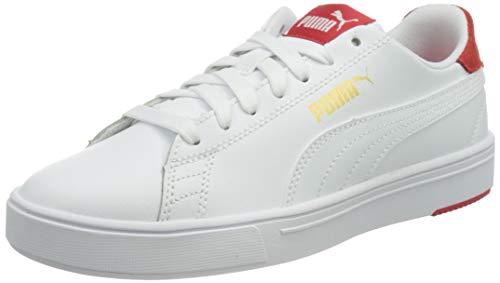 PUMA Unisex Serve Pro Lite Sneaker, Puma Weiß Puma Weiß High Risk Rot Puma Team Gold, 38 EU