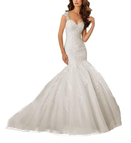 HUINI Brautkleider Hochzeitskleider Meerjungfrau mit Spitze Hochzeit Mermaid Kleid Partykleider Tüll Herzausschnitt Rückenfrei Elfenbein 44
