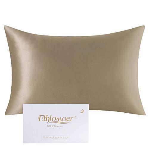 Ethlomoer Kissenbezug aus 100% natürlicher Reiner Seide für Haar und Haut, beidseitig 19 Momme, 600 Fadenzahl, Design mit verstecktem Reißverschluss, 1 Stück 40x60cm Taupe