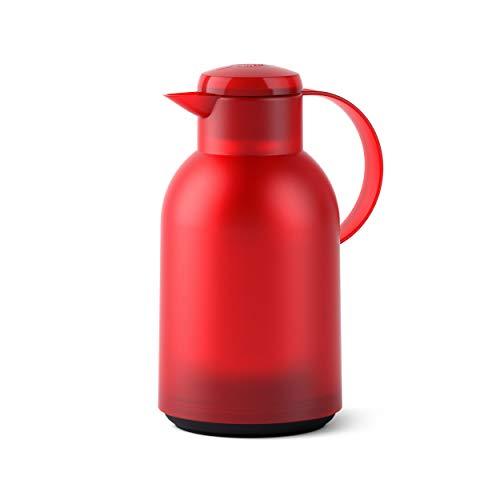 Emsa SAMBA Isolierkanne Quick Press, Kanne, Teekanne, Kaffeekanne, Kaffee, Kunststoff, Transparent-Rot, 1.5 L, N4011700