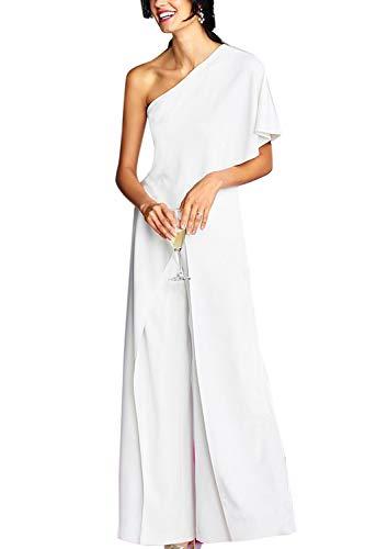 YACUN Mono Largo Mujer Fiesta Verano de un Hombro sin Mangas Pantalones Largos Pierna Ancha Cintura Alta Causal Elegante Blanco XL