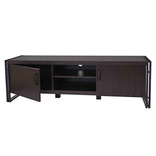 Mendler TV-Rack HWC-A27, Fernsehtisch Lowboard Kommode, 3D-Struktur Metall 45x140x40cm - Dunkelbraun